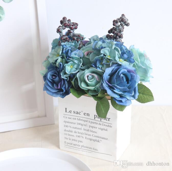 Blue Artificial Rose Bouquet Wedding Creative Decorations Diameter