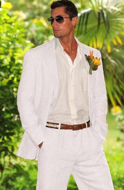 Abiti Costume Summer Beach White Linen Mens del vestito smoking dello sposo Groomsmen nozze giacca sportiva per gli uomini alla moda 2 pezzi (giacca + pantaloni)