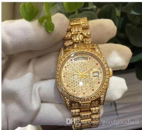 Top Relojes automáticos para hombre Lujo todos los diamantes Hombres Mujer Reloj mecánico limitado Zafiro Gypsophila daydate dial Reloj de oro de moda para mujer