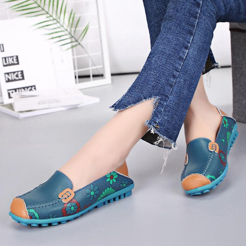 Kadınlar Ayakkabı Gerçek Deri loafer'lar Moda Makosenler Ayakkabı Kadınlar Ballet Flats Baskı Ayakkabı Slip On Flats 2019 Yeni Gelenler CJ191226