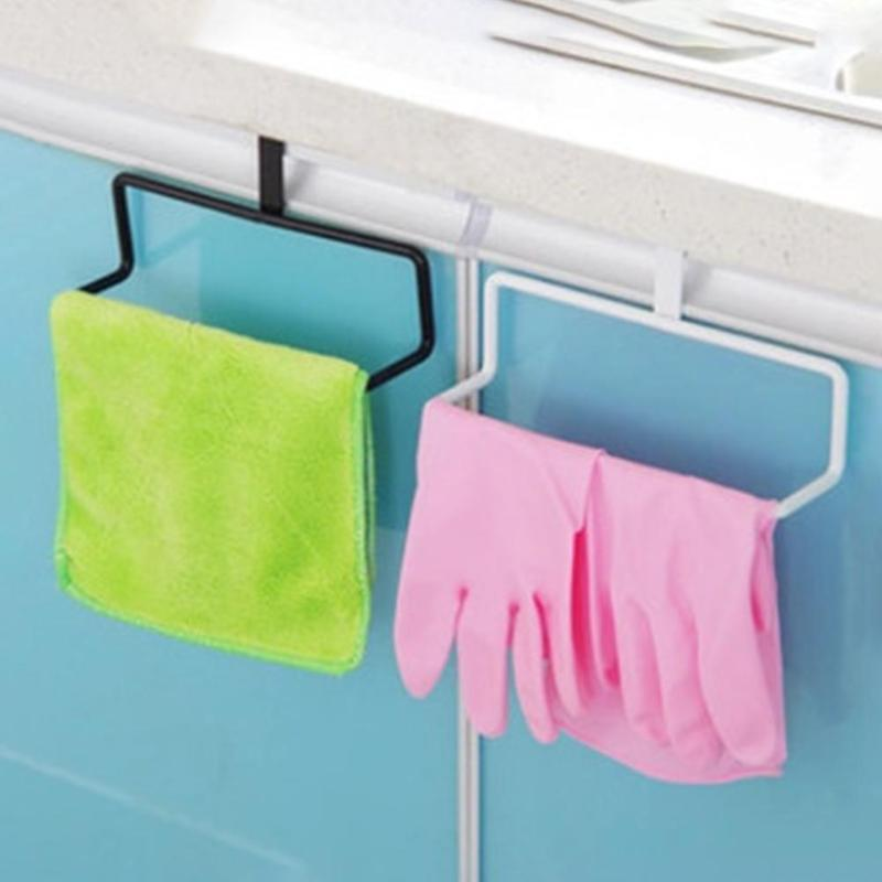 Durable Door-Hanging Towel Rack Excellent Quality No Deformation Single Rod Nail-free Duster Cloth Bath Storage Organizer