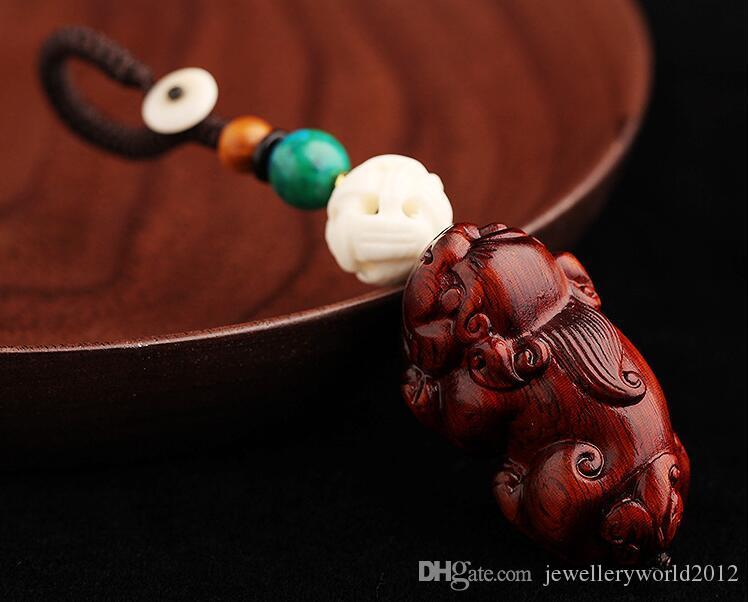 محظوظ PI شيوى مفصص مفتاح خشب الورد والهدايا حبل سلسلة قلادة chainkey