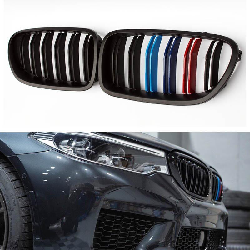 Für M5 F10 F11 F18 M Farbe Vorderseite Gloss Black Carbon fiber Zweizeilig Grill Grill für F10 520i 523i 525i 530i 535i 550i