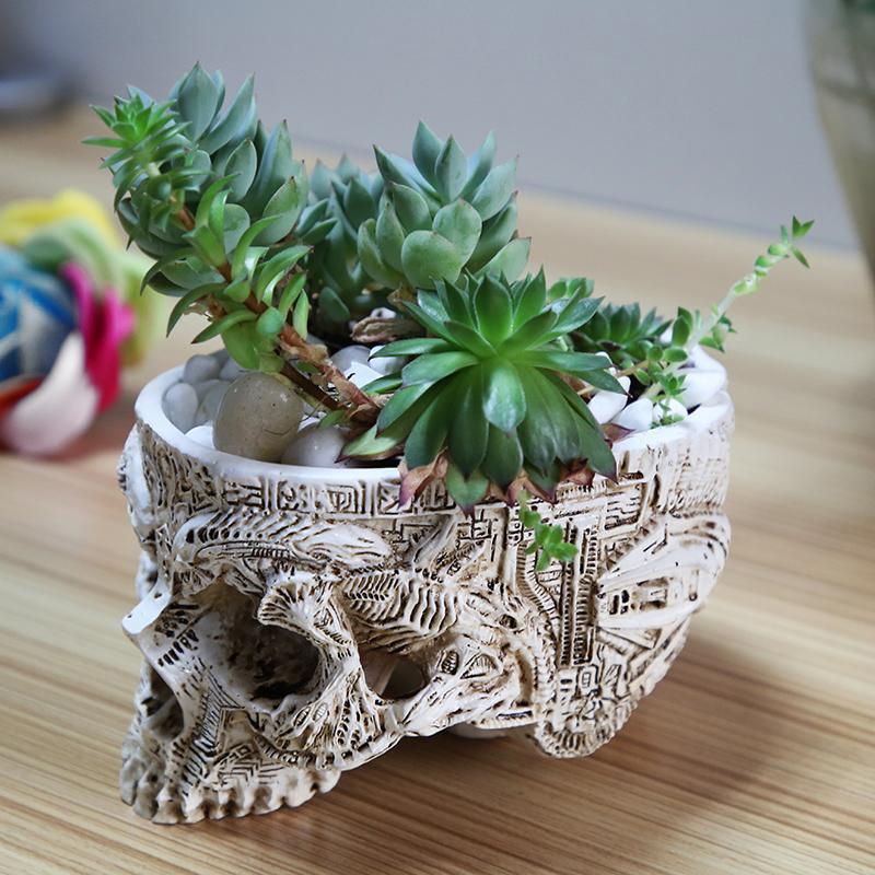 Çevre Dostu El Kafatası Saksı İnsan Kafatası Kemik Bowl Ev Bahçe Dekor Cadılar Bayramı Dekorasyon Oyma