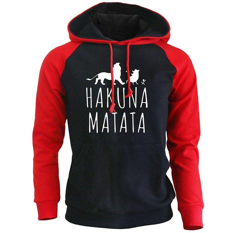2018 nueva llegada Sudaderas Hombre divertido Imprimir Hakuna Matata Streetwear Otoño Invierno Fleece con capucha para los hombres del deporte de Harajuku T200102