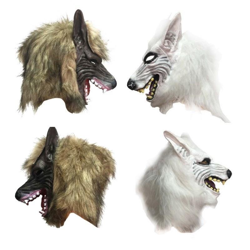 Máscara espeluznante de Halloween Decoraciones para fiestas Máscara de cabeza de lobo Disfraz de teatro Prop Látex Máscaras de novedad de goma Máscaras de látex para animales