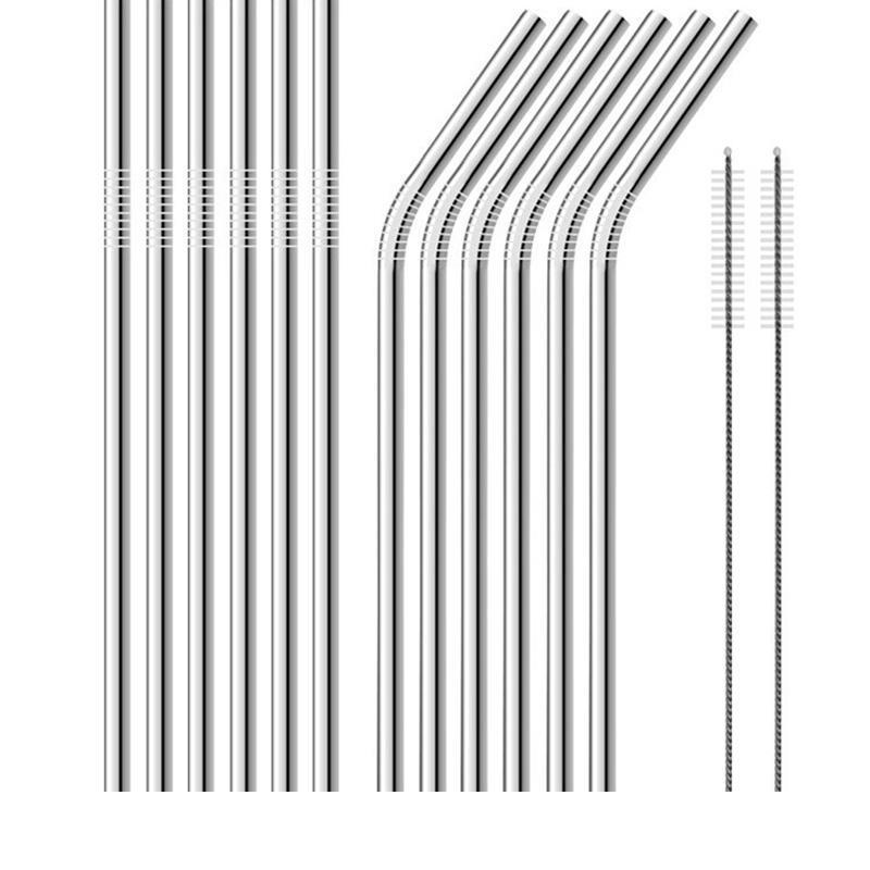 100pcs Stainless Steel Metal Drinking Straw Beer Juice Straws Cleaning Brush Set 4+1 Kit Fits Cups Retail Packing