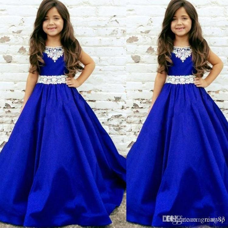 2020 Royal Blue Girls Proveant Dresses Lace Jewel NeckToddler Infant Satin Long Cheap Flower Girl First Communion Dress