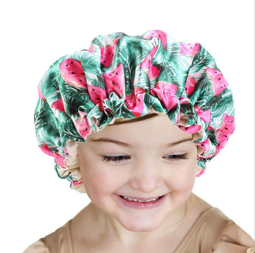 Bebê de seda de cetim Bonnet Double Layer ajustável sono Cap menina da noite Turban Crianças Sólidos Headwear bonito usar cabelos Moda Hat
