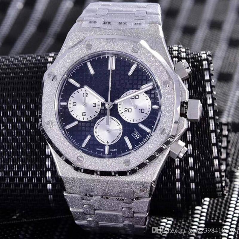 Relógios Homens De Quartzo VK Chronograph Movimento Relógios de Aço Inoxidável Masculino Moda Negócios 42mm De Moagem areia relógio de Pulso