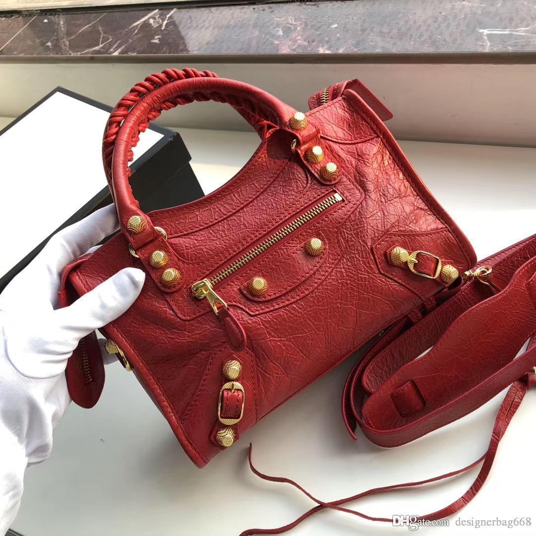 موضة جديدة مصمم كلاسيكي النساء للدراجات النارية حقيبة البسيطة CROSSBODY حقيبة برشام محفظة حمل حقيبة يد عالية الجودة الكراك حقائب جلدية حقيقية