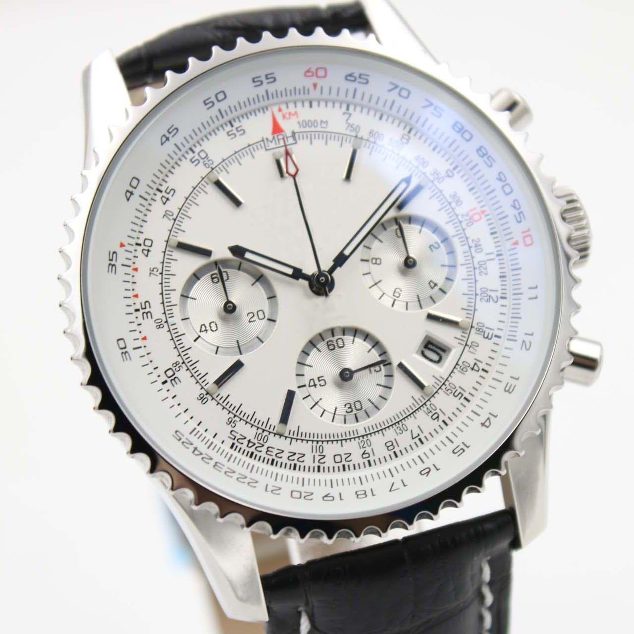 ساعة رياضية جديدة ساعات كرونوميتر نافيتيمر كوارتز كرونوغراف ساعة رجالي ساعة اليد الكلاسيكية ووتش الطلب الأبيض حزام جلد أسود