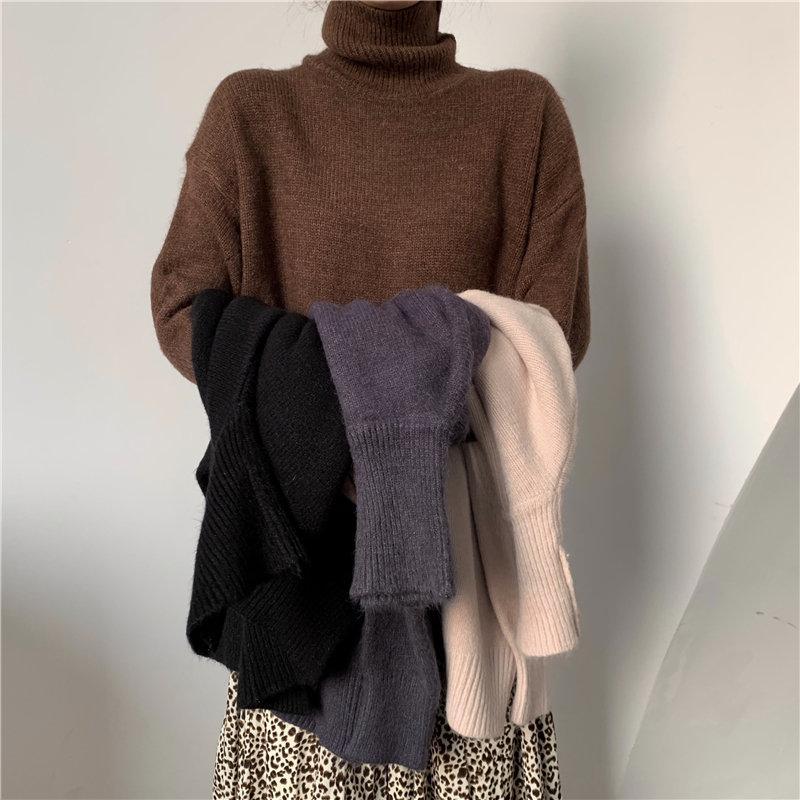 HziriP Простой Вязаные Зимняя мода Сыпучие Gentle 2020 Split Водолазка сгущает женщин ретро Подогреть Basic Solid All-Match свитер