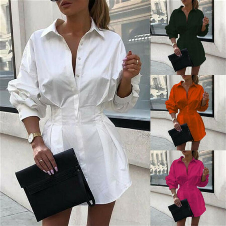 Casual Womens Shirt Dresses Lapel Neck Long Sleeve Collect Waist Ladies Dresses Work Solid Color Loose Woman Dress