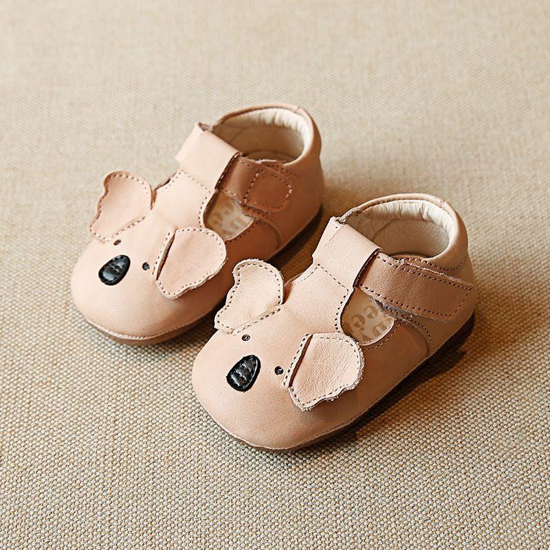 정품 신생아 만화 코알라 건강한 가죽 통기성 여자 신발 먼저 워커 하드 하단 아기 모카신 Y200404