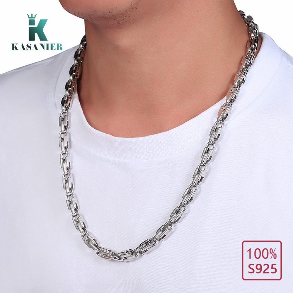 8mm S925 Sterling Silber Hip Hop Miami Curb Cuban-Ketten-Halskette Rapper Link Silber Gliederkette Halsketten Männer Fashion Jewelry