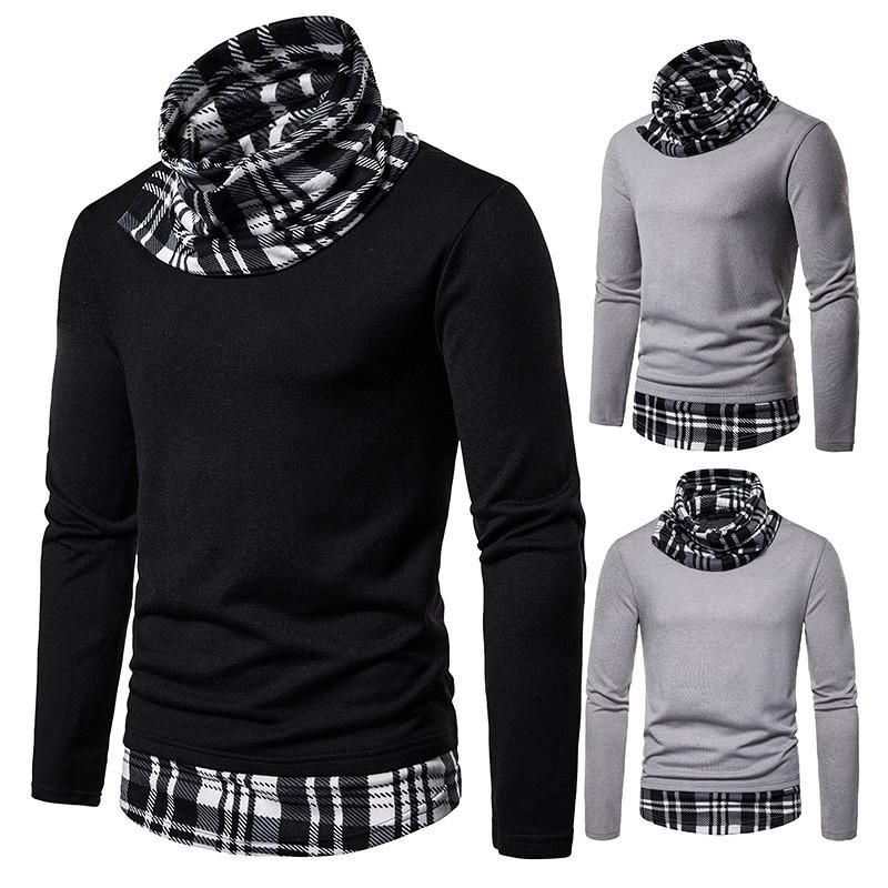 Plaid Panelled Mens Designer Knits Fashion Scarf Neck Long Sleeve Solid Mens Tops Casual Slim Teenagers Sweater