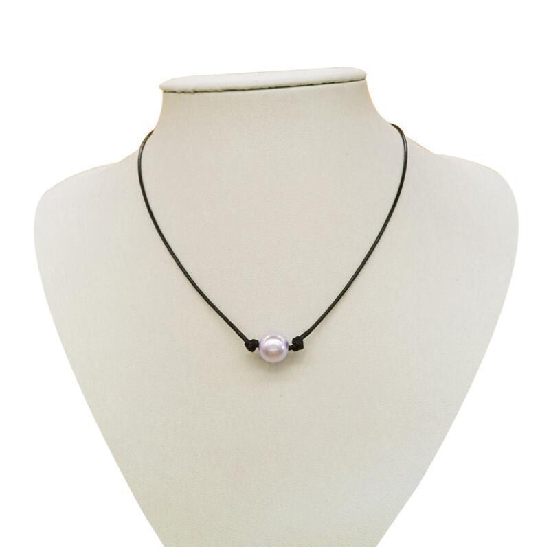 Großhandel Frauen schwarze Lederband einzigen Perle Anhänger Halskette Schmuck