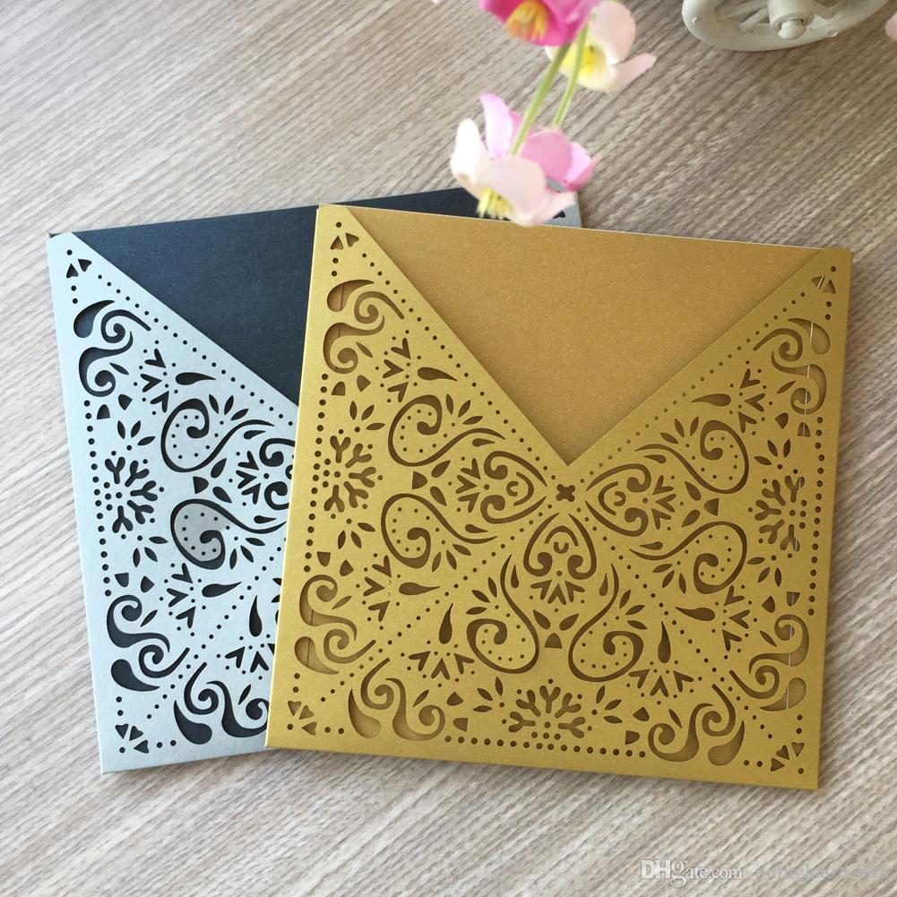 25 Teile / lose Hohl Luxus Laser Cut Hochzeitseinladungskarte Farbe Verschiedene Zeremonie Einladungskarten Graduation Einladungen Und Family Dinner