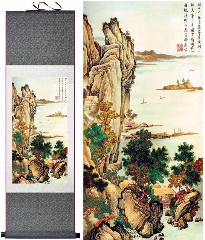 Tangbohu Landscape Painting Home Office Decoration Chinese Scroll Painting Landscape Art Painting Landscape Painting2019061022