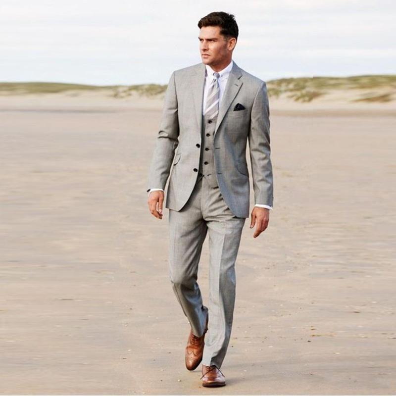 New Light Grey Groom suit Notch Lapel Mens Wedding Tuxedos Fashion Man Blazer 3 Pieces (Jacket+Pants+Vest+Tie)