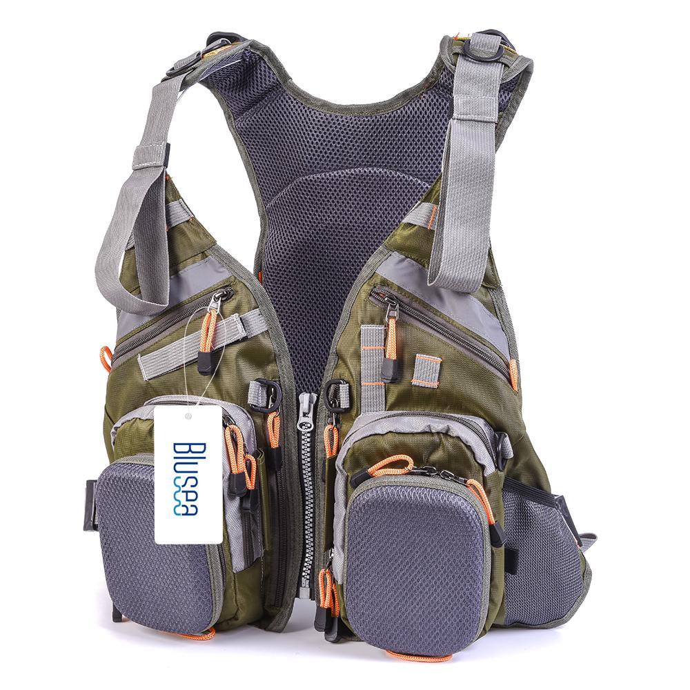 Blusea 메쉬 낚시 조끼 및 배낭 통기성 야외 낚시 안전 구명 조끼 의류 장비