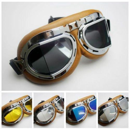 Aviator Pilot Cruiser Motorcycle Scooter ATV Goggle Eyewear T08Y Clear Colourful Brown Lens Brown Silver Yellow free shipping Free Shipping