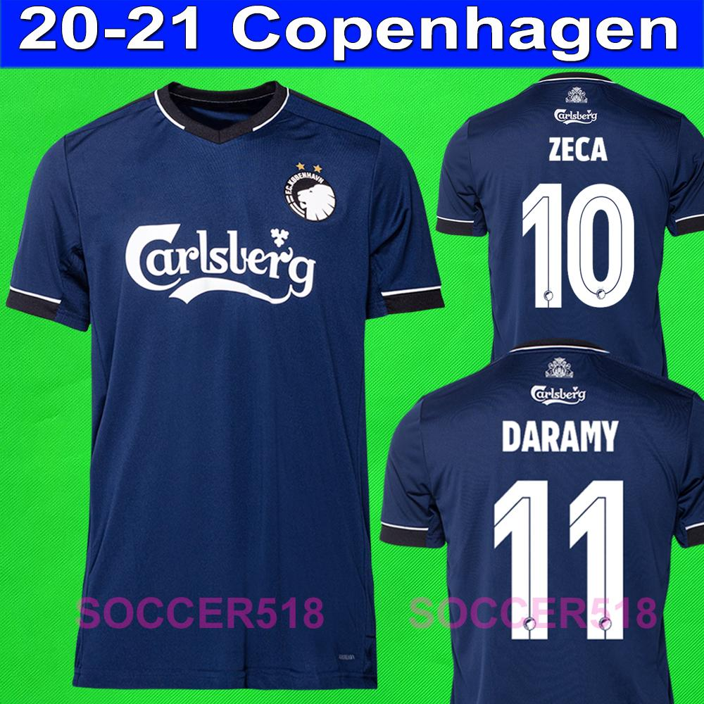 2020 2021 Zeca Dareamy Copenhagen Away Blue Soccer Jerseys Fischer Sigurdsson Camicie di calcio Soccer Jersey Skov Kit Uniformi
