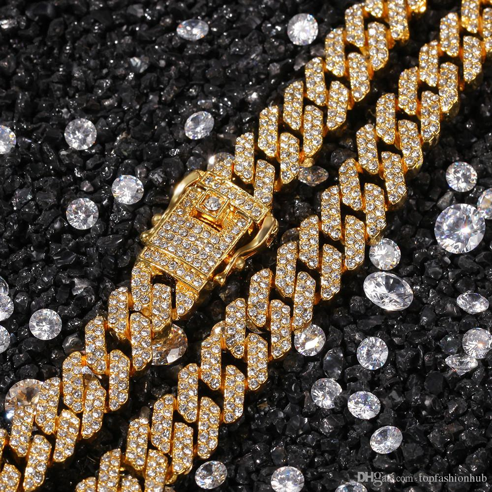 12mm Hip Hop Full strass pavimentato Bling ghiacciato geometrica rombo collana a maglie collana per gioielli da uomo rapper