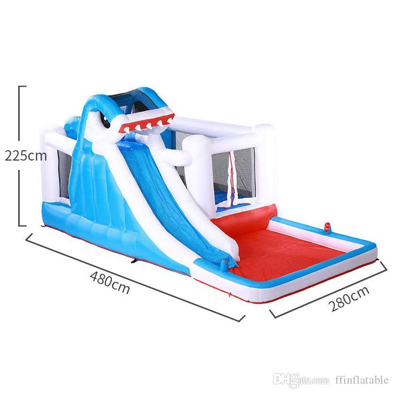 Flash Sale Shark Park With Water Spray Inflatable Water Park Combo With Slide Funny Shark Bouncer With Ball Pool For Shopping Day 618