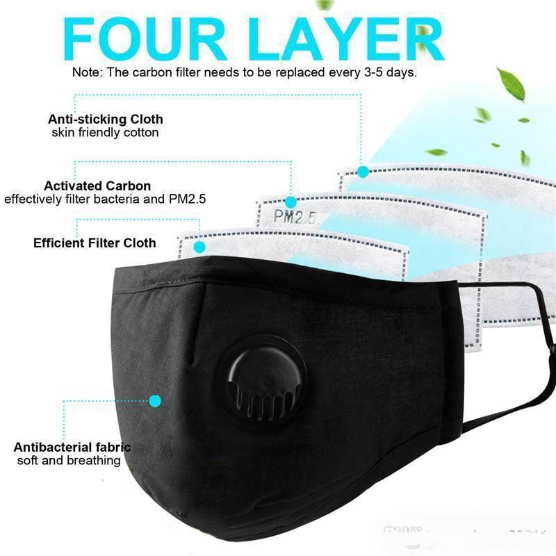 Fast DHL Deigner Half Face Anti-Dust Mask Air Pollution Foldable Face Dust filters Masks Reusable with Valve 2 Filters (5 layer)