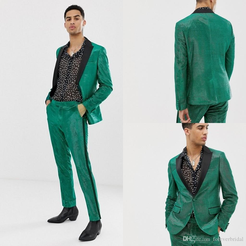 Sequined Green Mens Wedding Tuxedos Black Peaked Lapel One Button Groom Wear Handsome Prom Designer Jackets (Jacket+Pants)