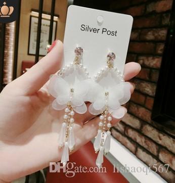 moda de cristal de diamante de baixo preço de alta qualidade 2 pares / lotes de diamante de cristal pérola brincos de prata das mulheres (10.35re