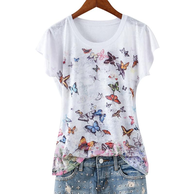 Double Butterfly Print Slim Silk Cotton Thin T Shirt Women O-neck Short Sleeve Tops Summer 2019 New Arrivals M-5xl Y19042501