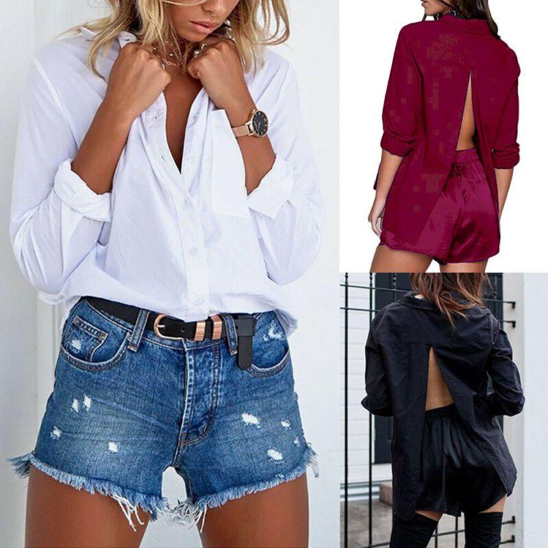 Mulheres Casual manga comprida Ssxy Shirt Lady Loos shirt Tops Escritório botão branco Turn-Down Collar Blusas quente