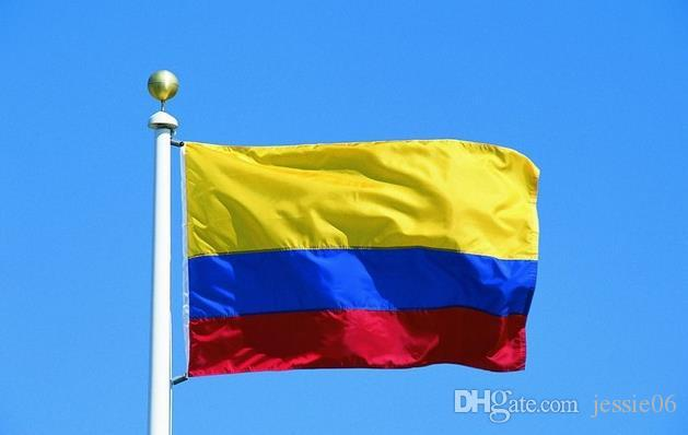 Kolombiya cumhuriyeti Bayrağı Banner 3x5ft Kolombiya Kolombiya Kolomb Güney Amerika Polyester Fanlar tezahürat Bayrakları 90x150 cm