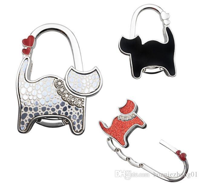 3pcs Folding Handbag Holder Mini Cute Cat Hanger Table Hook Purse Shopping Bag Sundries Back Seat Headrest Clips