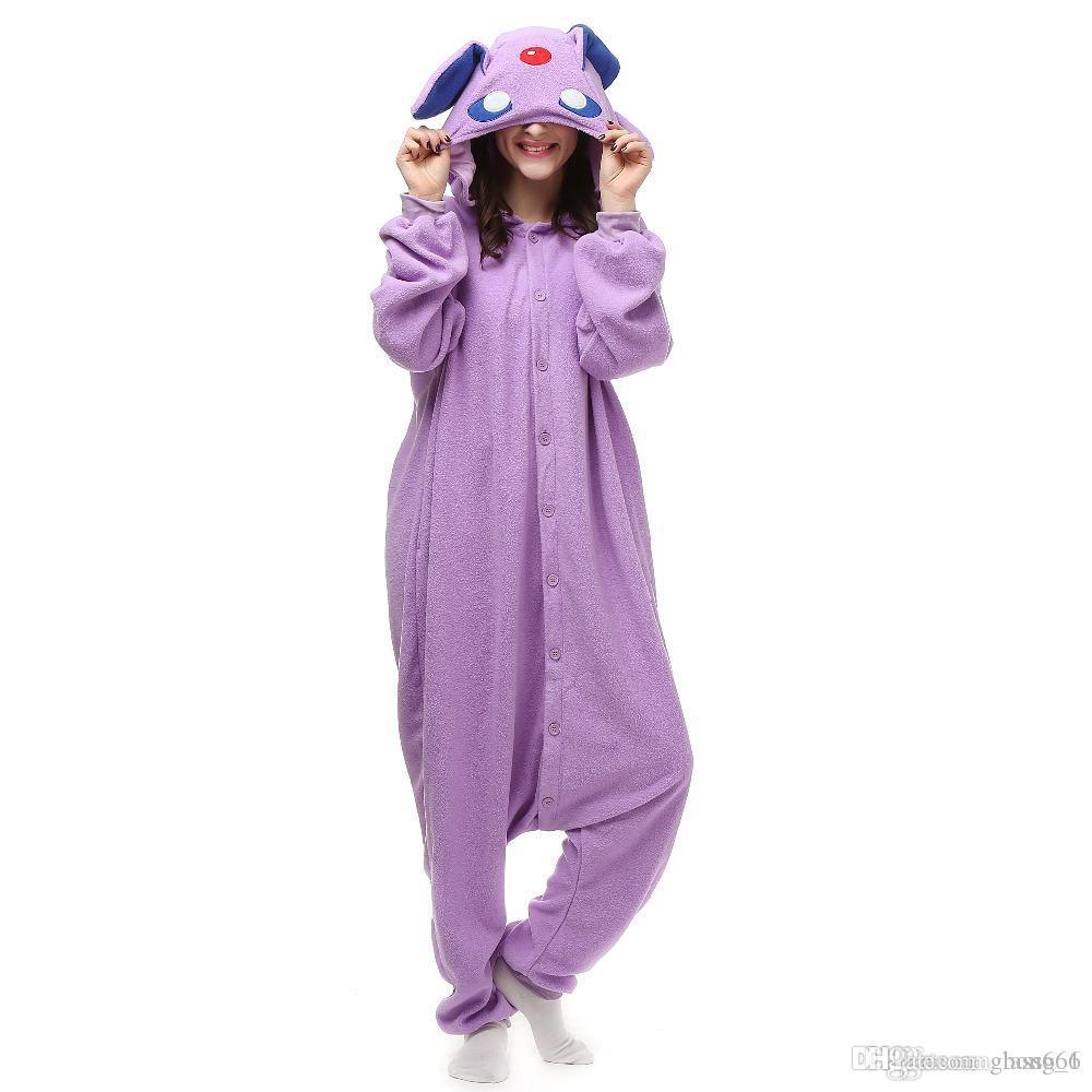 새로운 동물 성인 우산의 잠옷 만화 Espeon Kigurumi Onesies 코스프레 의상 Unisex Sleepwear Christmas Gift