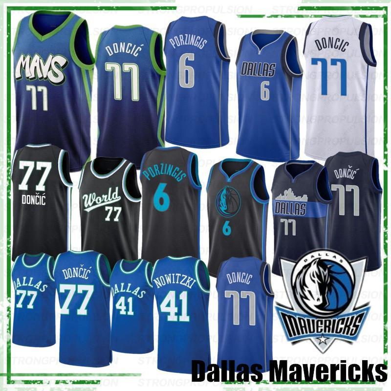 NCAA 77 Doncic كلية كرة السلة الفانيلة كريستابس 6 Porzingis ديرك نوفيتسكي 41 دونوفان 100٪ خياطة قميص 2019 20 الجديدة أعلى جودة