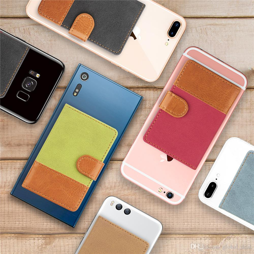 Universal 3M Sticker Back Phone Card Slot Leather Pocket Stick On Wallet Cash ID Credit Card Holder For iPhone XS MAX X 7 8 Smartphone Case