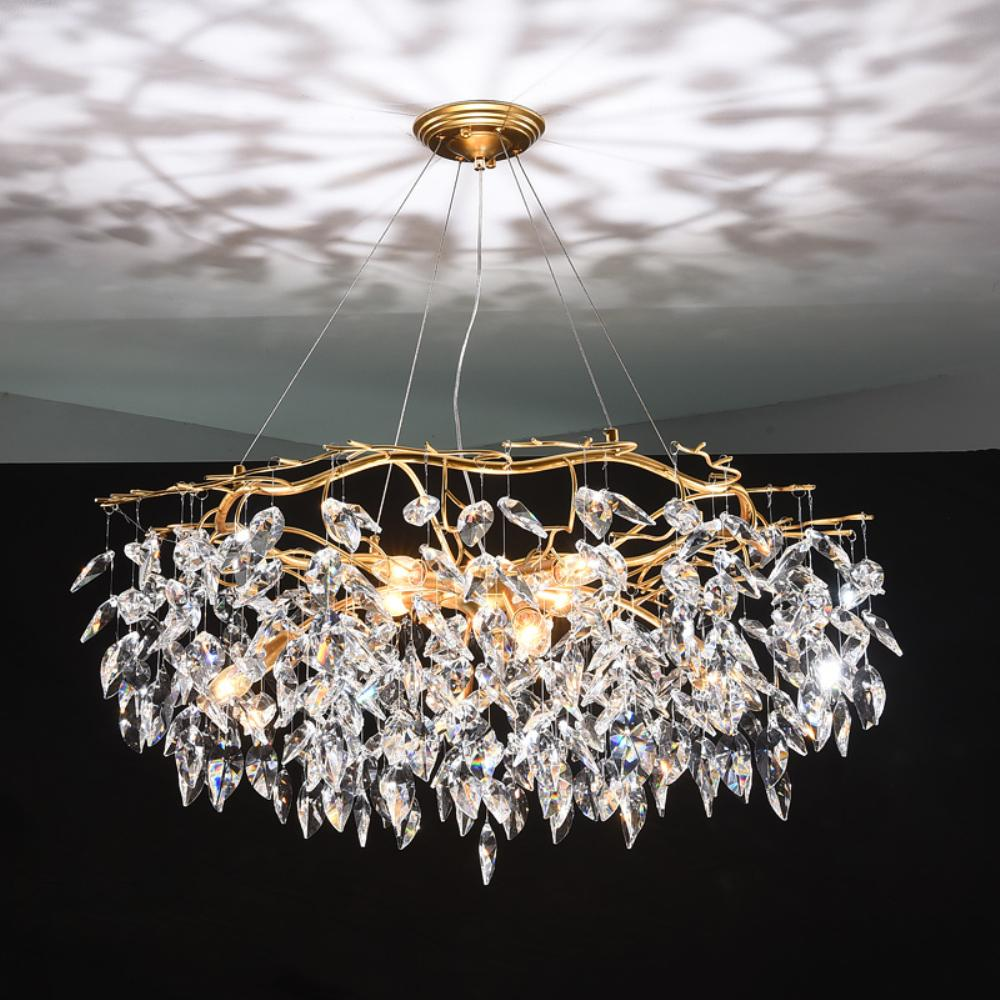 Chandelier Lustre Crystal Lamp Gold Branch Lamp Lamparas Modernas