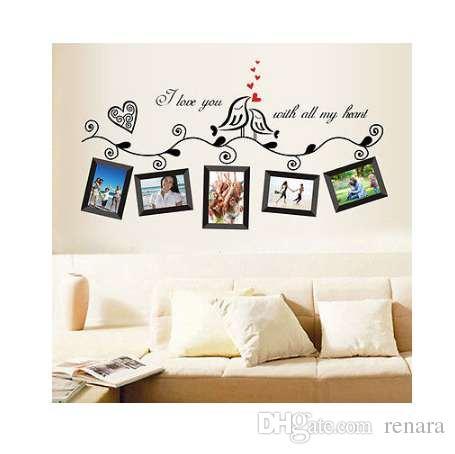 Marco de fotos Árbol de la familia Bird Cotizaciones extraíbles Tatuajes de pared Etiqueta de la habitación Decoración para el hogar