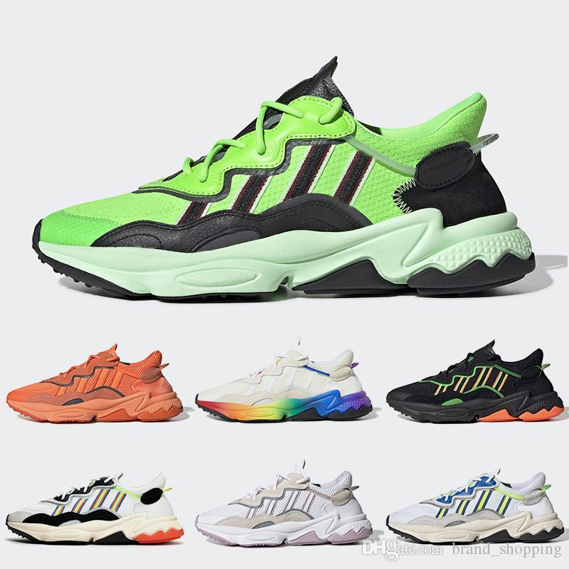 Top Ozweego Running shoes Pride 3M Reflective Xeno Women Mens Trainers Neon Green Solar Yellow Halloween Tones Core Black Sports Sneakers