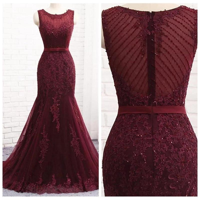 Exquisite Jewel Neck Mermaid Affordable Evening Dresses for Women Sash Bodice Lace Appliques Beading Maroon Prom Dresses Vestido De Festa