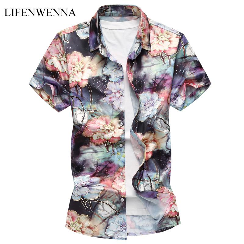 M-7XL New Summer Fashion Men's Shirt Slim Fit Short Sleeve Floral Shirt Mens Clothing Trend Plus Size Mens Casual Flower Shirts T200602