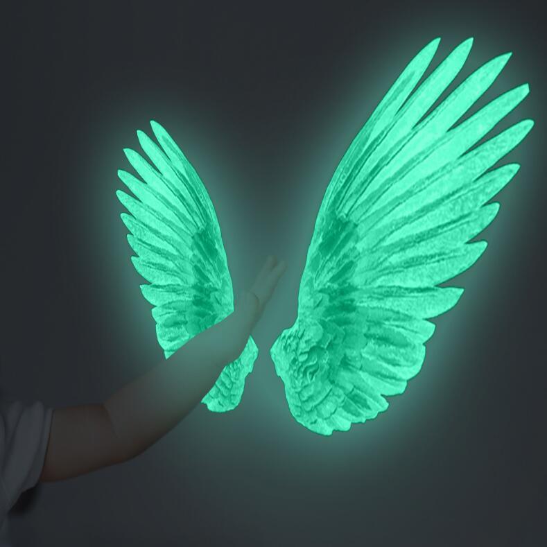 Creative Angel Wings Acrylic Mirror Wall Sticker Bedroom Living Room Decal Decor