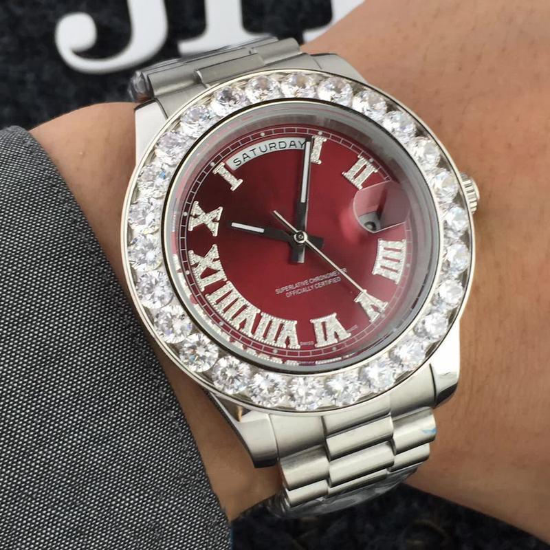 44mm 명품 시계 남성 디자이너 대통령 시계 다이아몬드 베젤 아이스 아웃 시계 자동 기계 운동 손목 시계 316리터 스틸