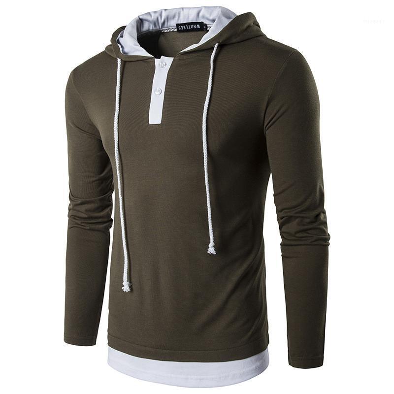 Casual Faux Deux Pièces Cordon Hommes Hoodies Mode Pull Bouton Hommes Vêtements Tôlé Mens Designer Hoodies