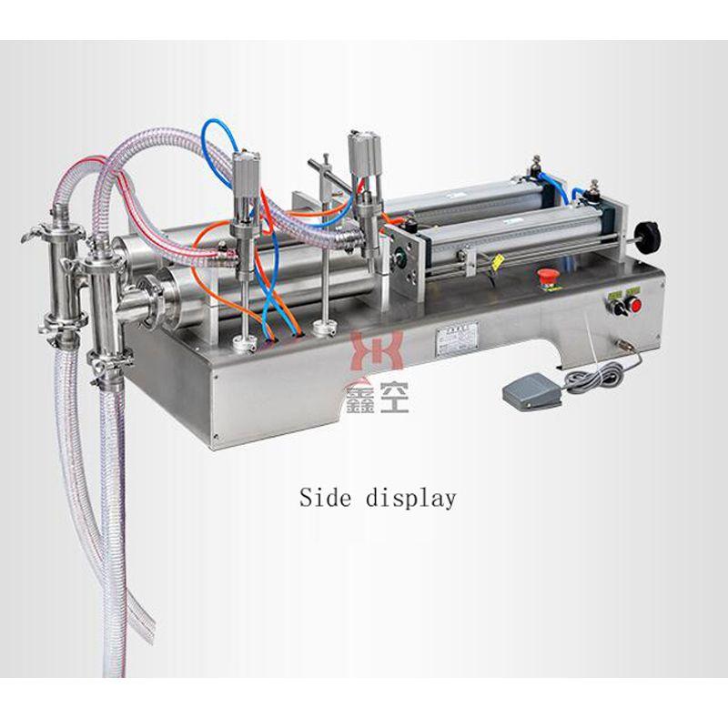 Içecek suyu şarap süt dolum makinası paslanmaz çelik çift kafa sıvı dolum makinası