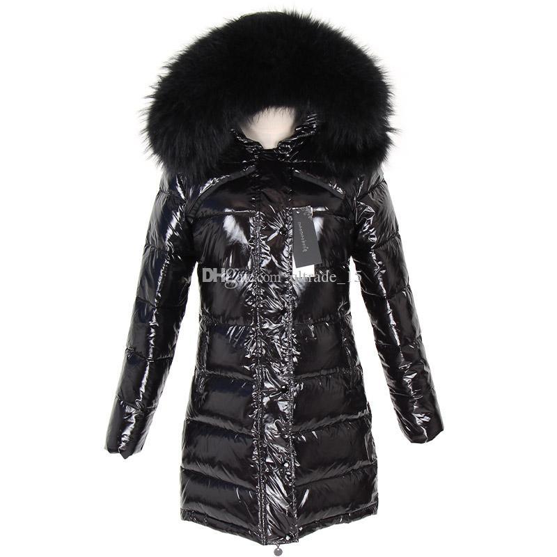 2019 resistente ao frio pele de guaxinim preto mulheres guarnição brilhante preto casacos estilo longo para baixo preencher parkas Noruega